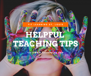 "Photo of a young child with messy hands with the words ""fit learning st. louis helpful teaching tips"" over the face. This is a precision teaching tip from Fit Learning St. Louis 63141"